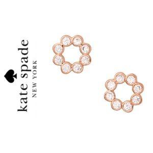 NWT Kate Spade CZ circle rose gold tone earrings